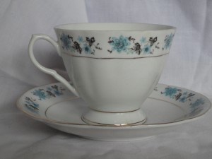 teacup with blue flowers