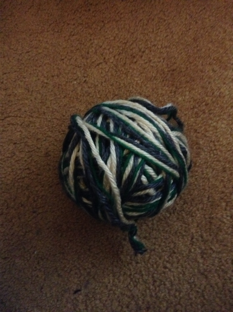 ball of three yarns wound together