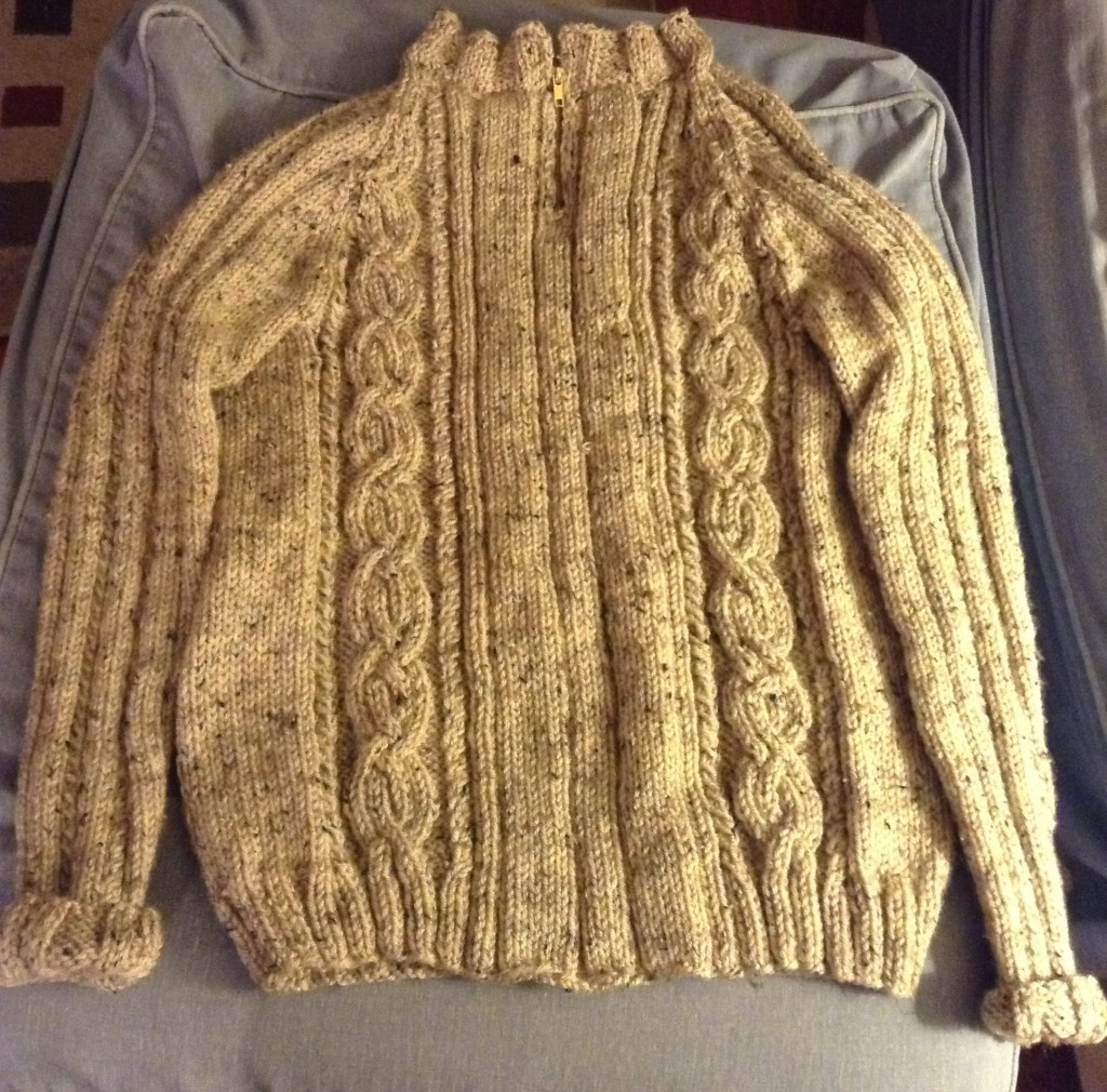 Cabled men's sweater.