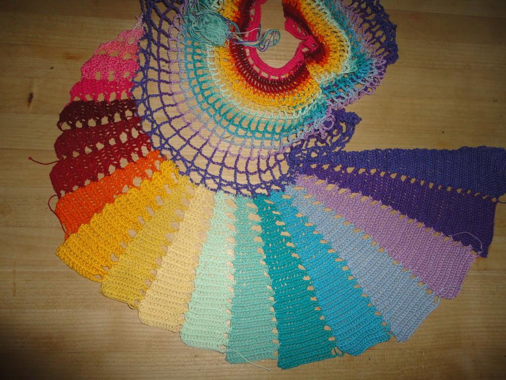 crocheted skirt panel