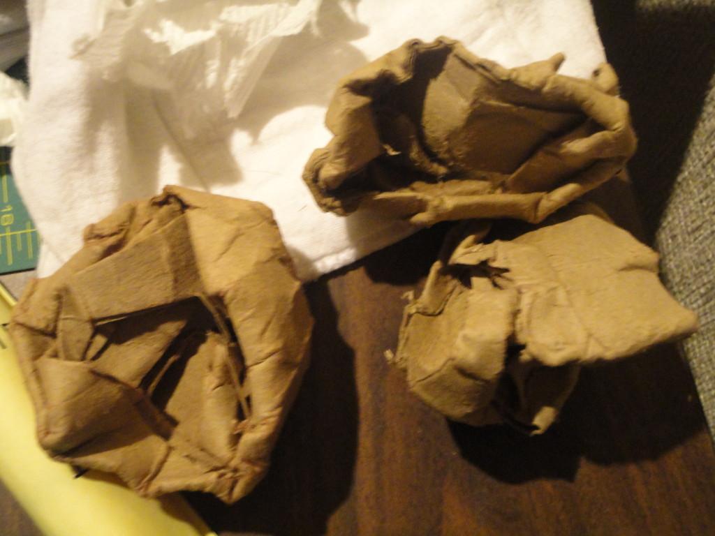 Crumpled cardboard tubes