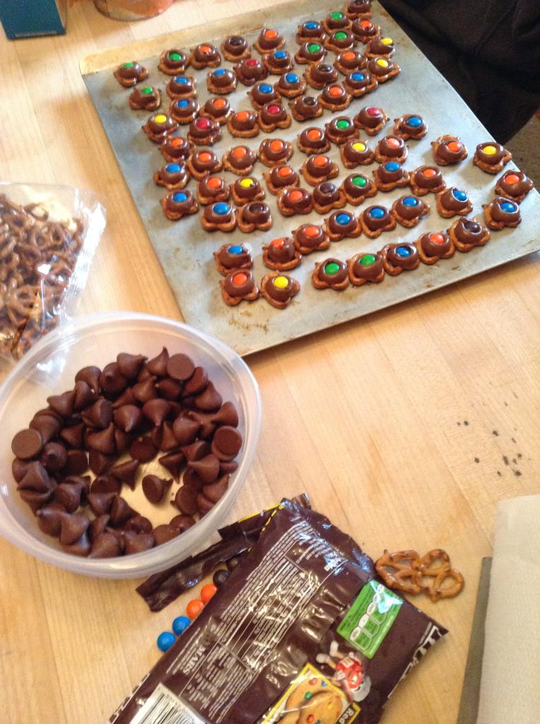 mini pretzels with M&Ms